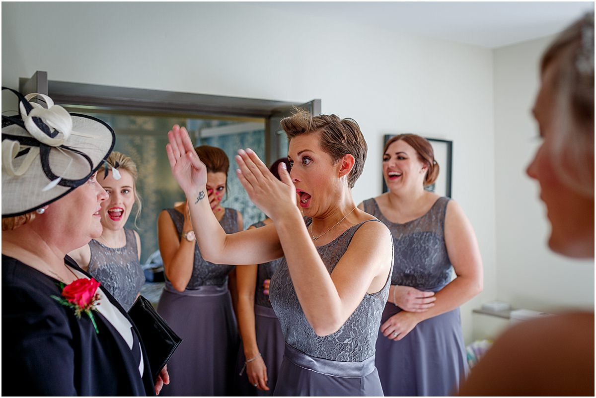 Southdowns Manor Wedding Photography brides sisters first look